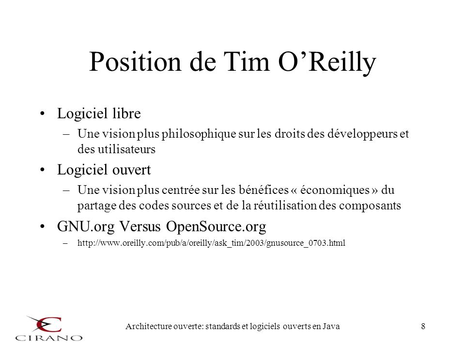 Position de Tim O'Reilly