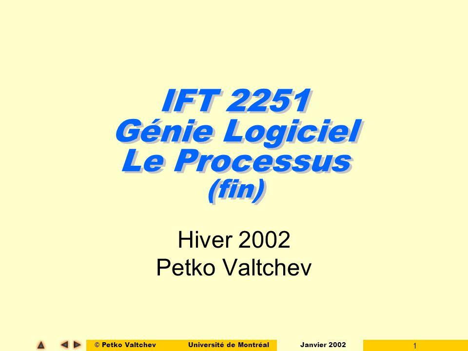 IFT 2251 Génie Logiciel Le Processus (fin)