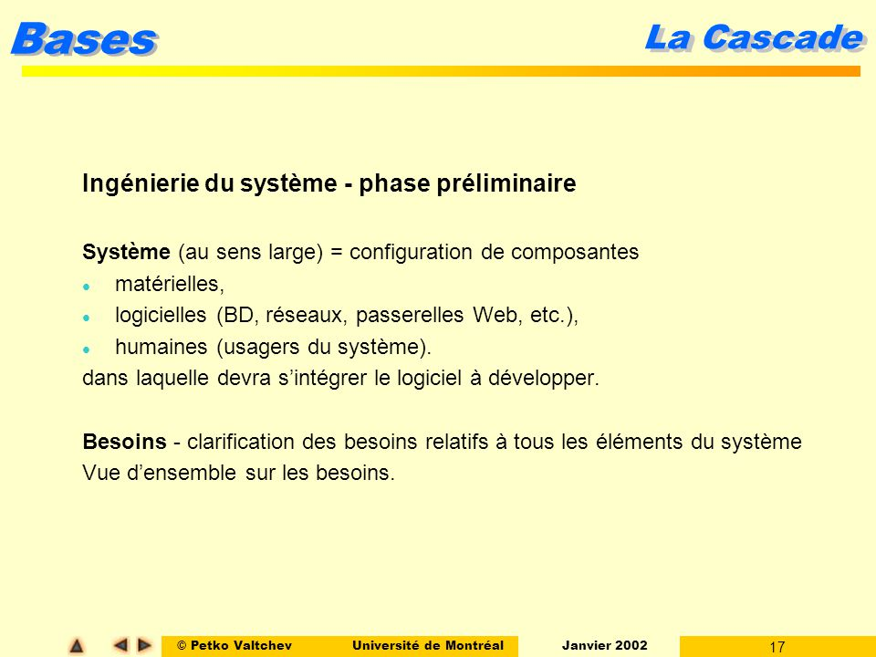 La Cascade Ingénierie du système - phase préliminaire