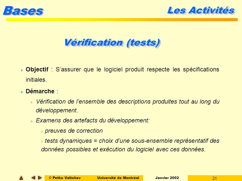 Les Activités Vérification (tests)