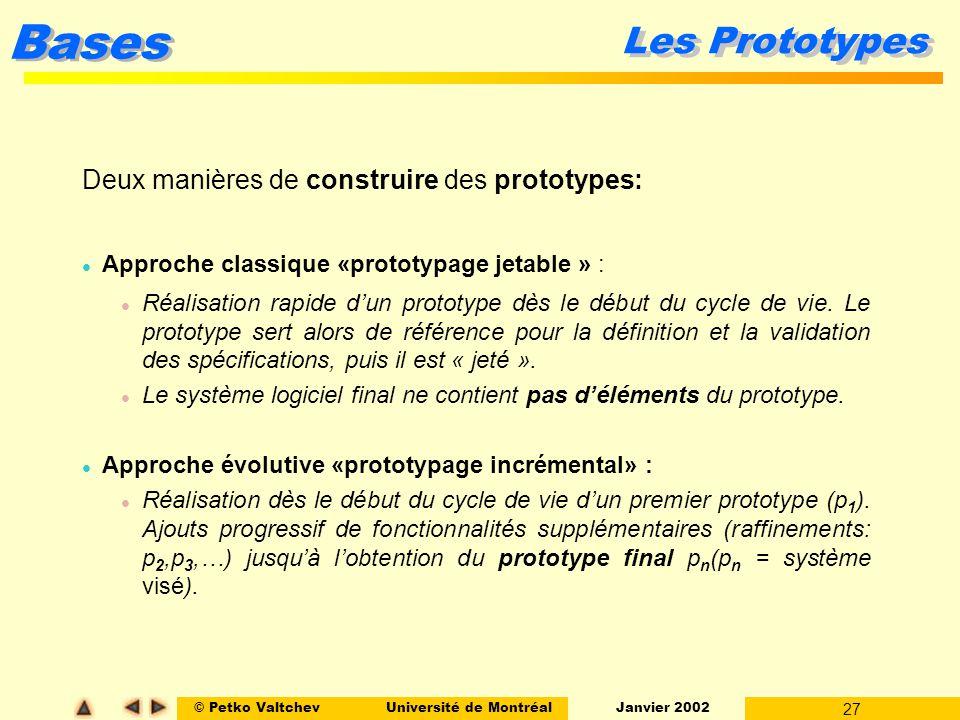Les Prototypes Deux manières de construire des prototypes: