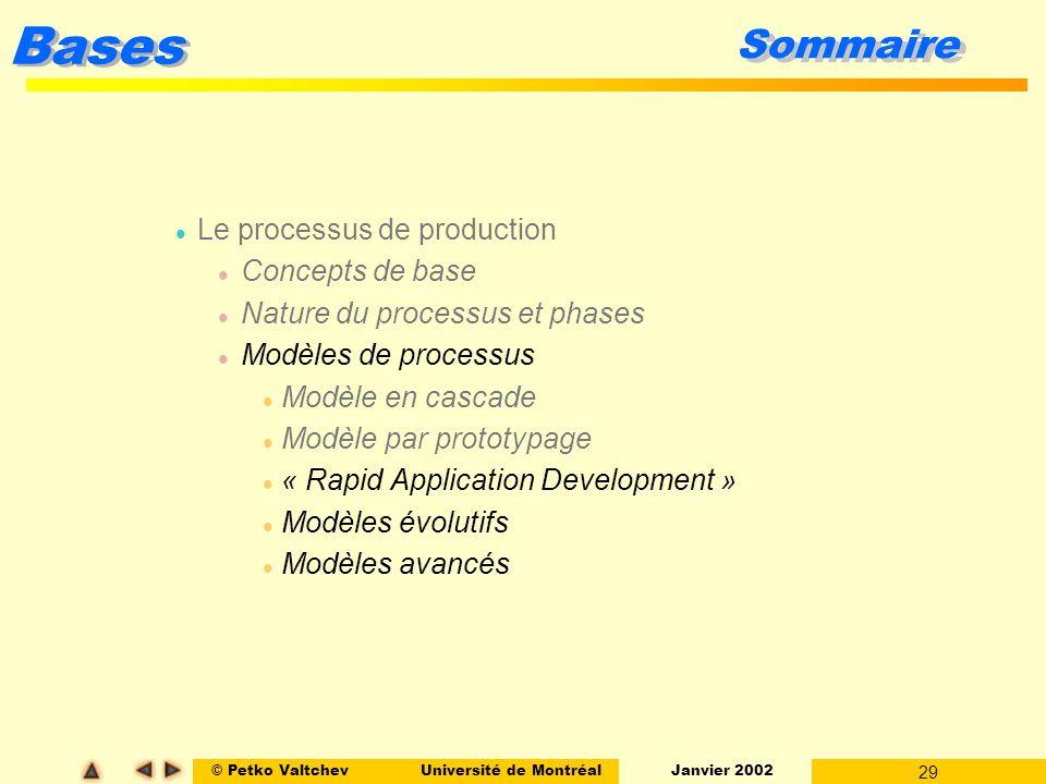 Sommaire Le processus de production Concepts de base