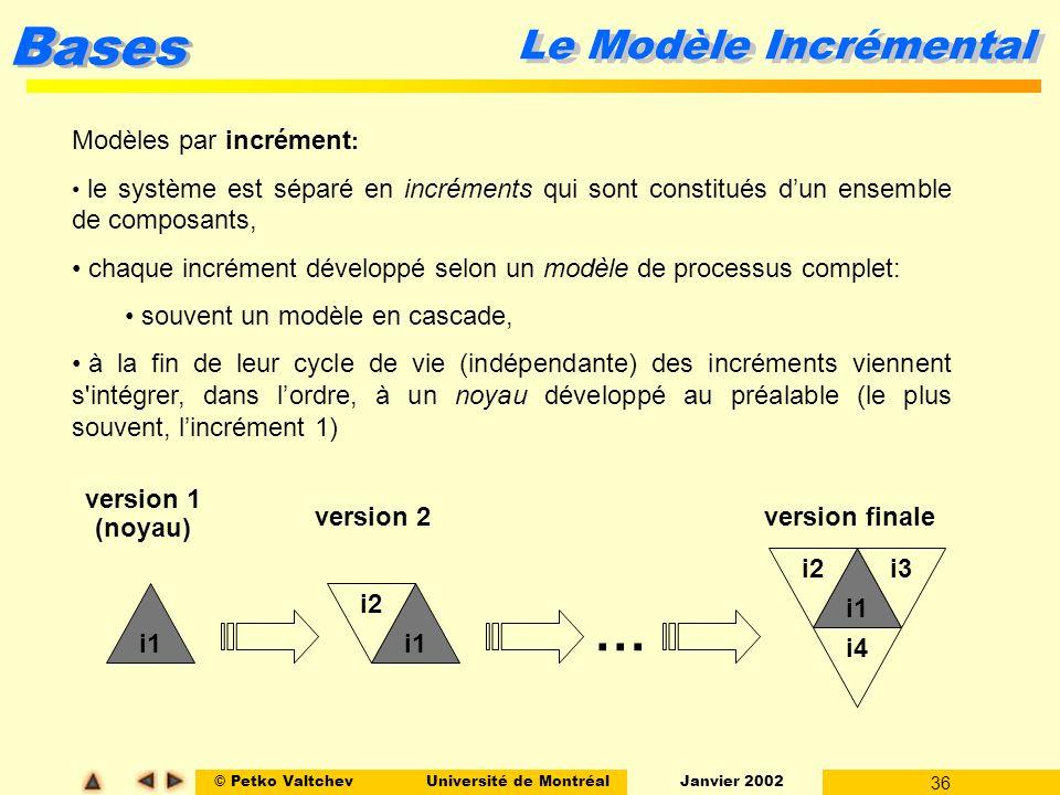 … Le Modèle Incrémental Modèles par incrément: