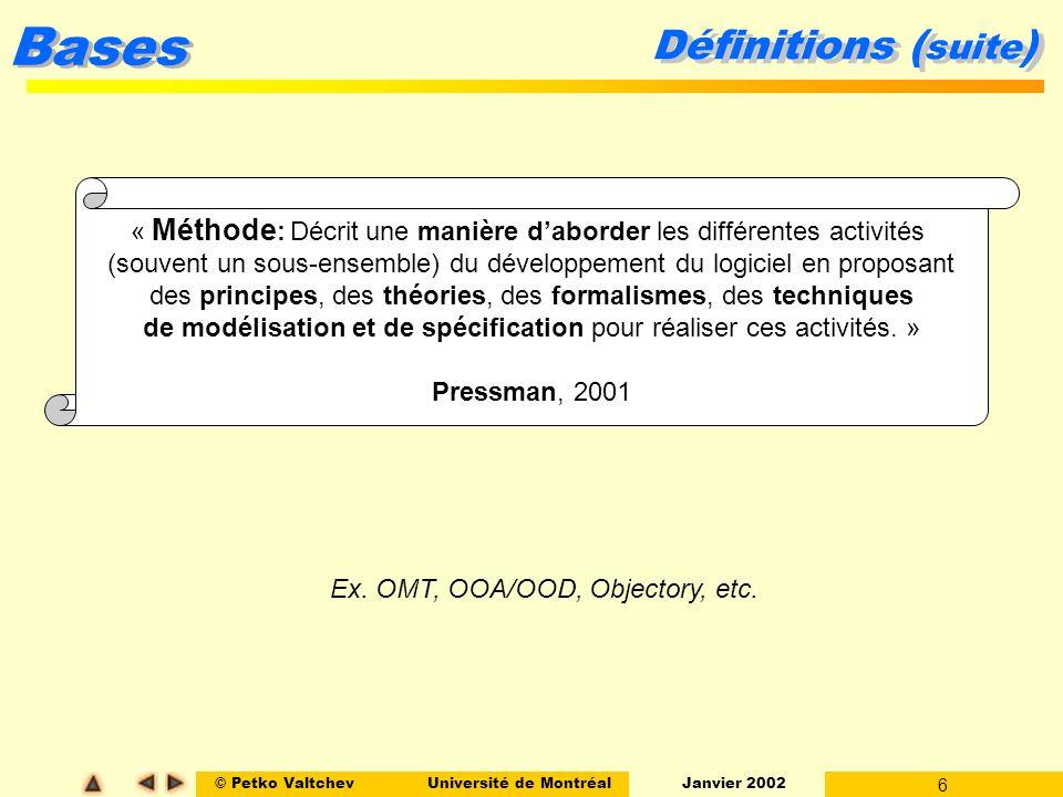 Définitions (suite) « Méthode: Décrit une manière d'aborder les différentes activités.