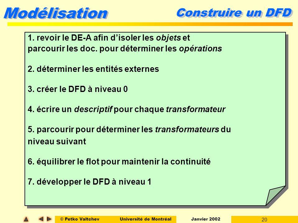 Construire un DFD 1. revoir le DE-A afin d'isoler les objets et