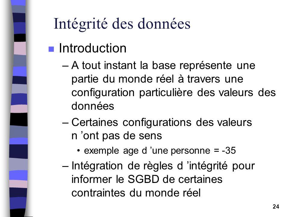 Intégrité des données Introduction