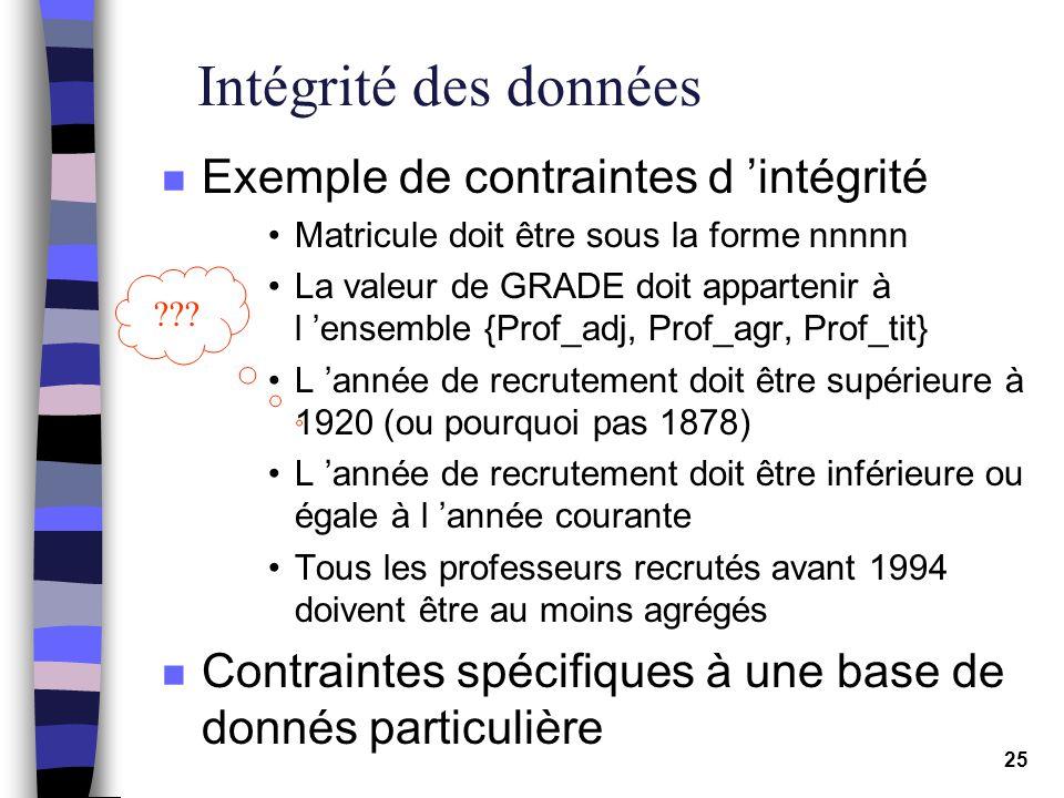 Intégrité des données Exemple de contraintes d 'intégrité