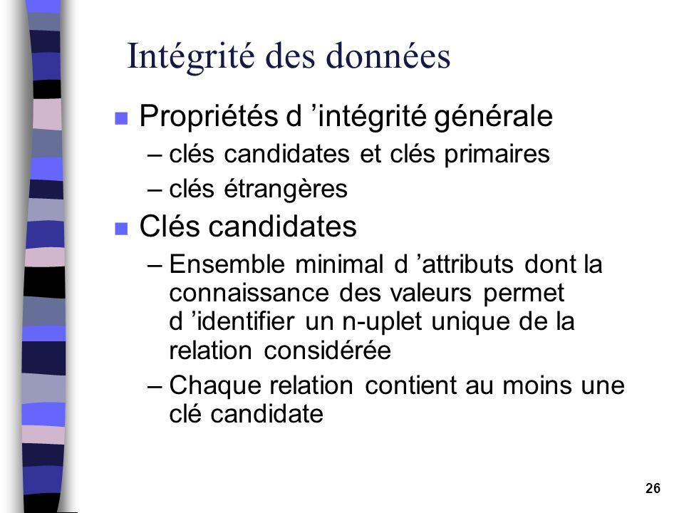 Intégrité des données Propriétés d 'intégrité générale Clés candidates