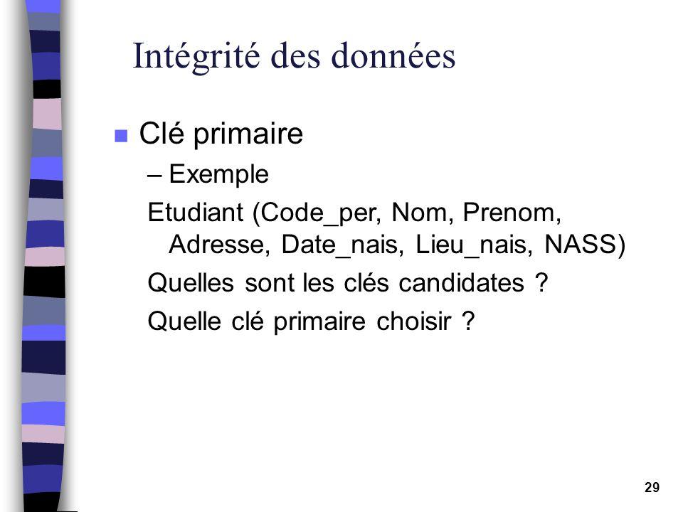 Intégrité des données Clé primaire Exemple