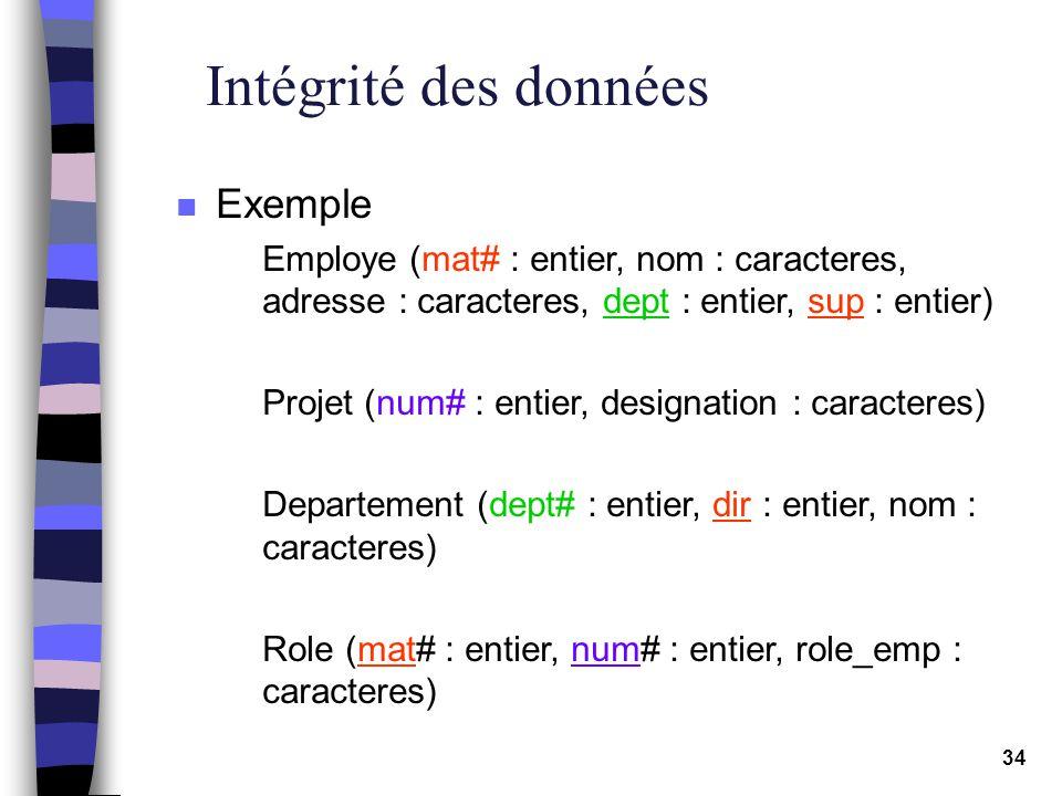 Intégrité des données Exemple