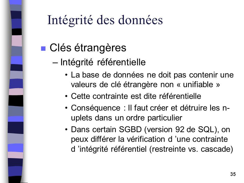 Intégrité des données Clés étrangères Intégrité référentielle