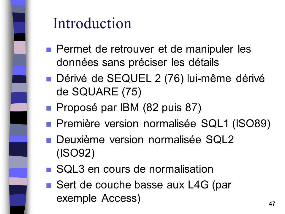 Introduction Permet de retrouver et de manipuler les données sans préciser les détails. Dérivé de SEQUEL 2 (76) lui-même dérivé de SQUARE (75)