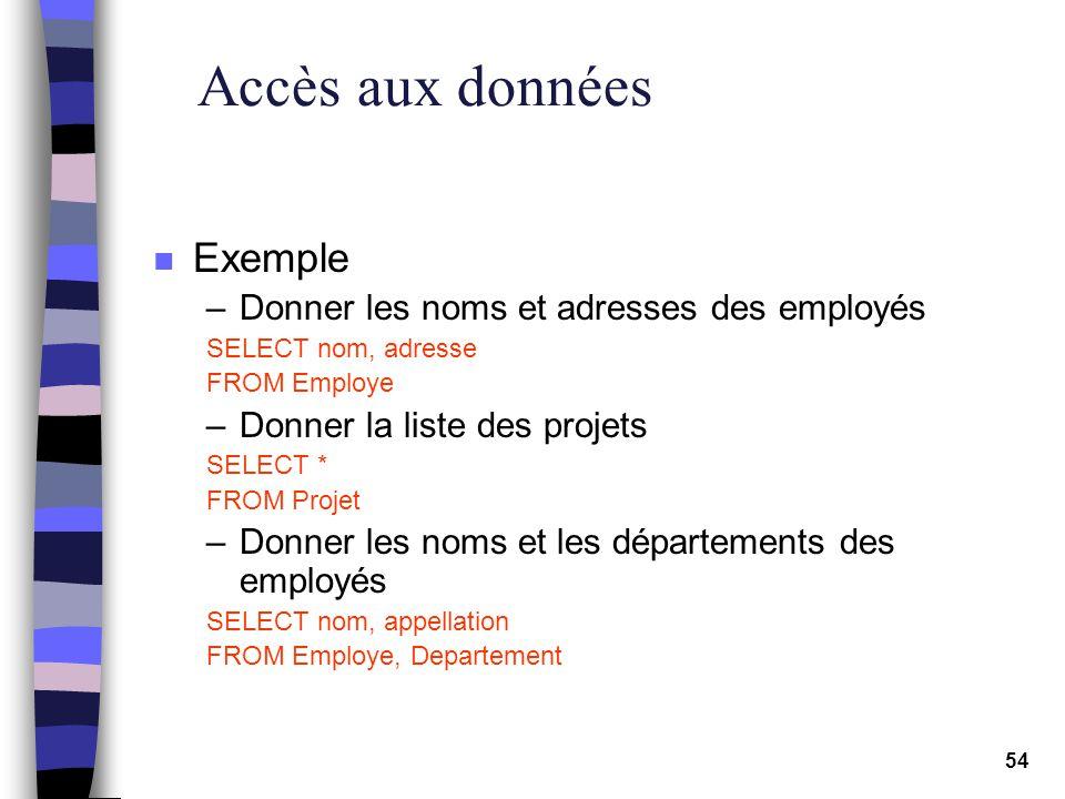 Accès aux données Exemple Donner les noms et adresses des employés