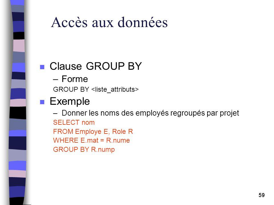 Accès aux données Clause GROUP BY Exemple Forme