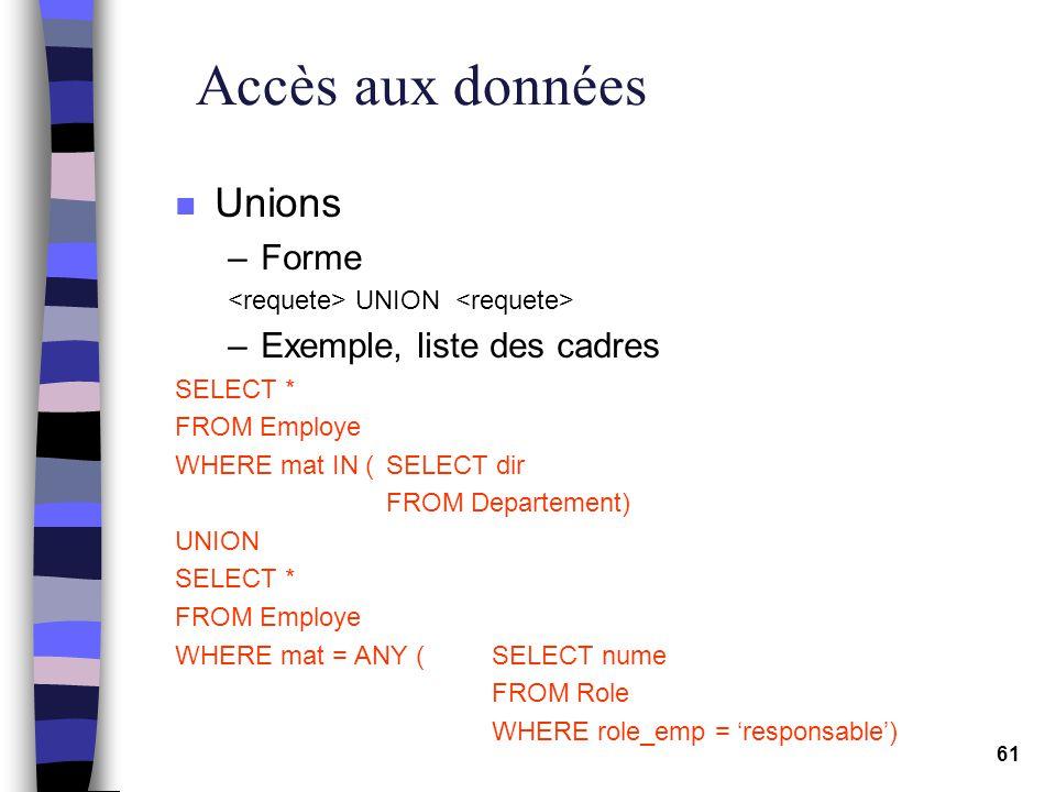 Accès aux données Unions Forme Exemple, liste des cadres