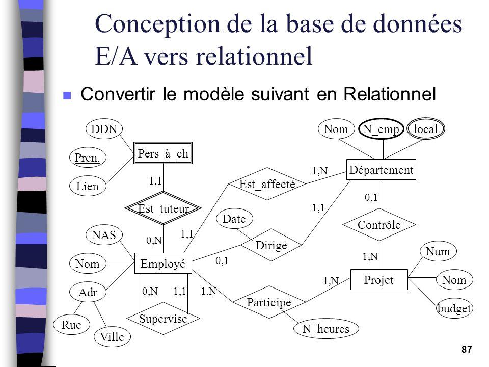 Conception de la base de données E/A vers relationnel