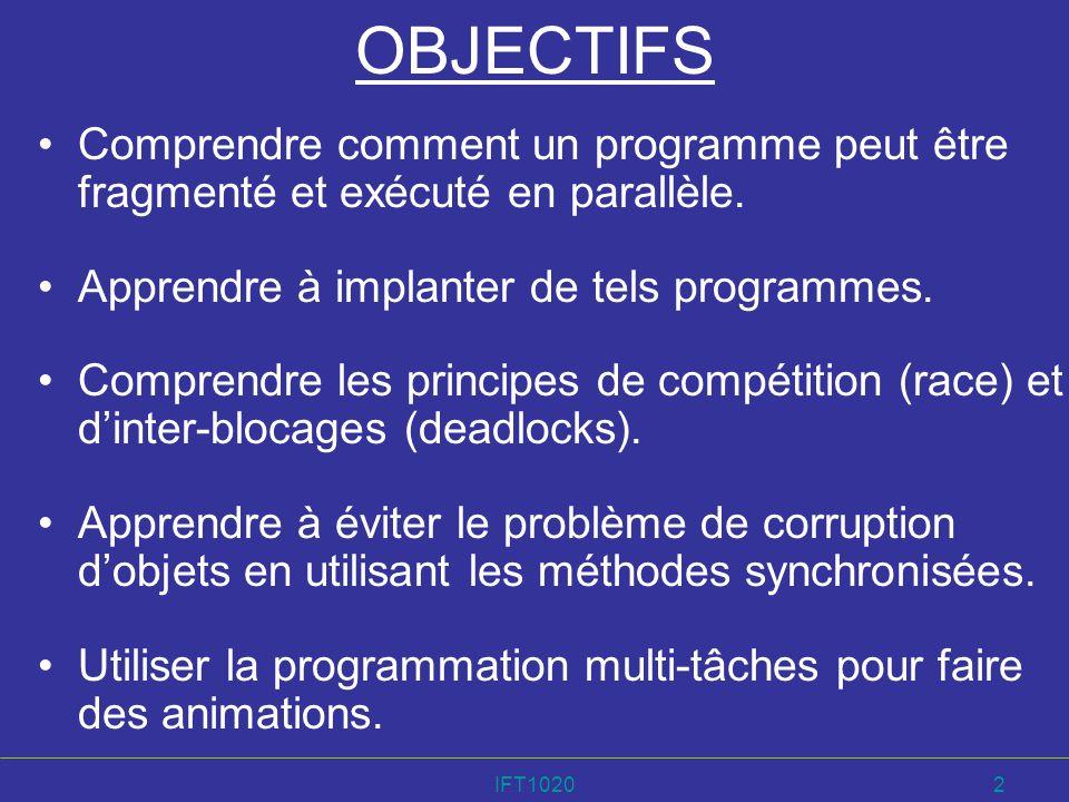 OBJECTIFS Comprendre comment un programme peut être fragmenté et exécuté en parallèle. Apprendre à implanter de tels programmes.