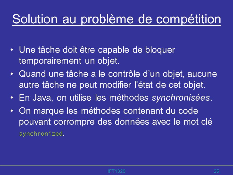 Solution au problème de compétition