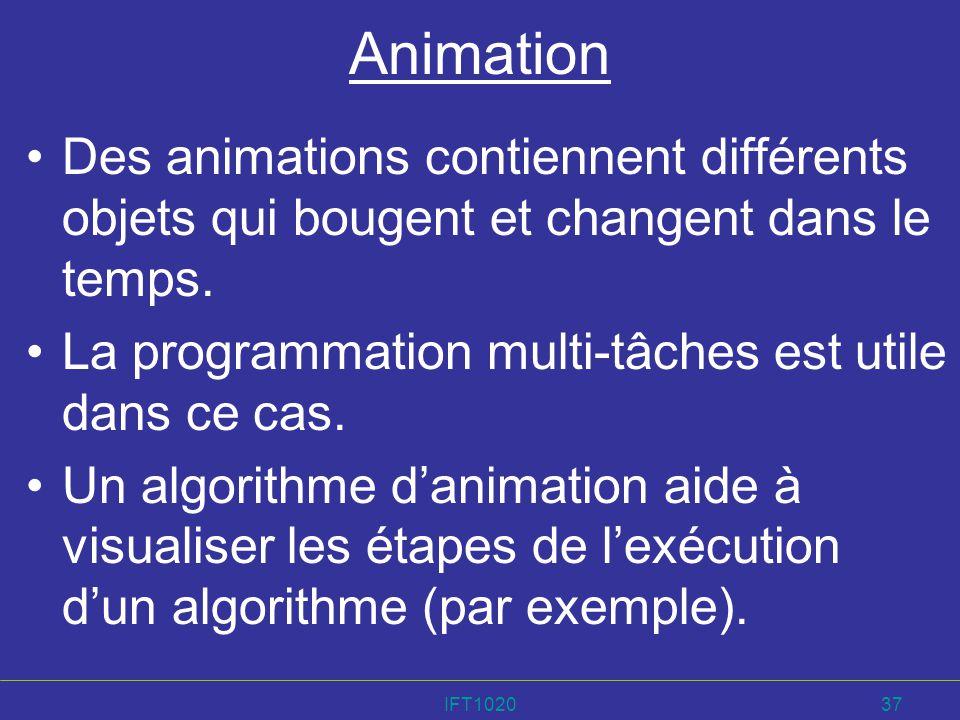 Animation Des animations contiennent différents objets qui bougent et changent dans le temps. La programmation multi-tâches est utile dans ce cas.