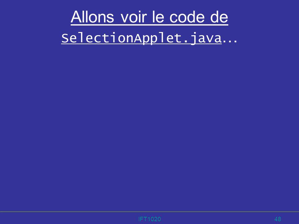 Allons voir le code de SelectionApplet.java…