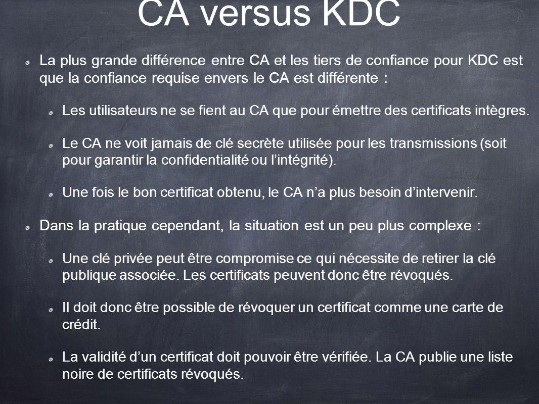 CA versus KDC La plus grande différence entre CA et les tiers de confiance pour KDC est que la confiance requise envers le CA est différente :