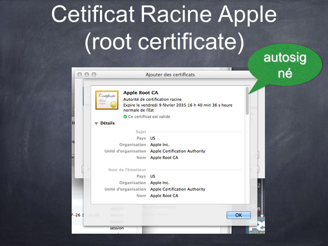 Cetificat Racine Apple (root certificate)