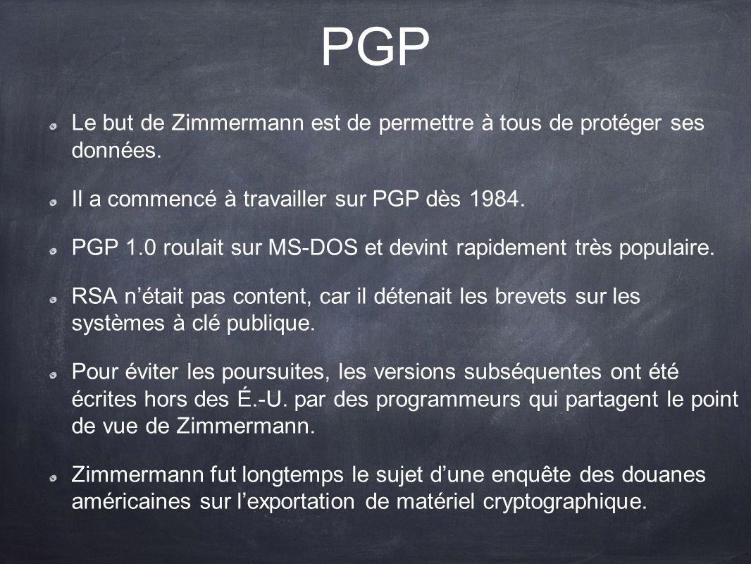 PGP Le but de Zimmermann est de permettre à tous de protéger ses données. Il a commencé à travailler sur PGP dès 1984.