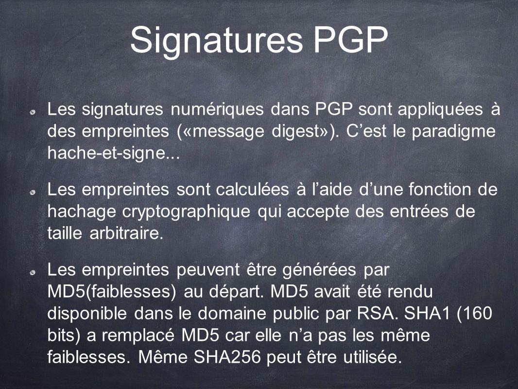 Signatures PGP Les signatures numériques dans PGP sont appliquées à des empreintes («message digest»). C'est le paradigme hache-et-signe...