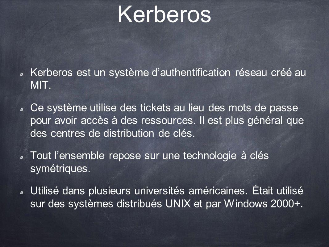 Kerberos Kerberos est un système d'authentification réseau créé au MIT.