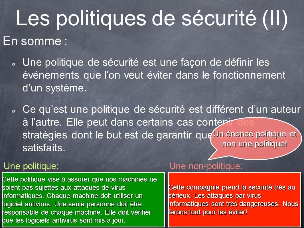 Les politiques de sécurité (II)