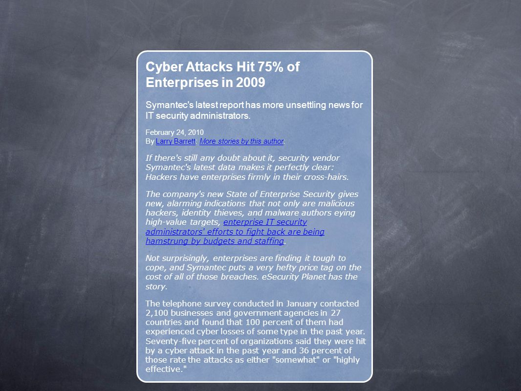 Cyber Attacks Hit 75% of Enterprises in 2009