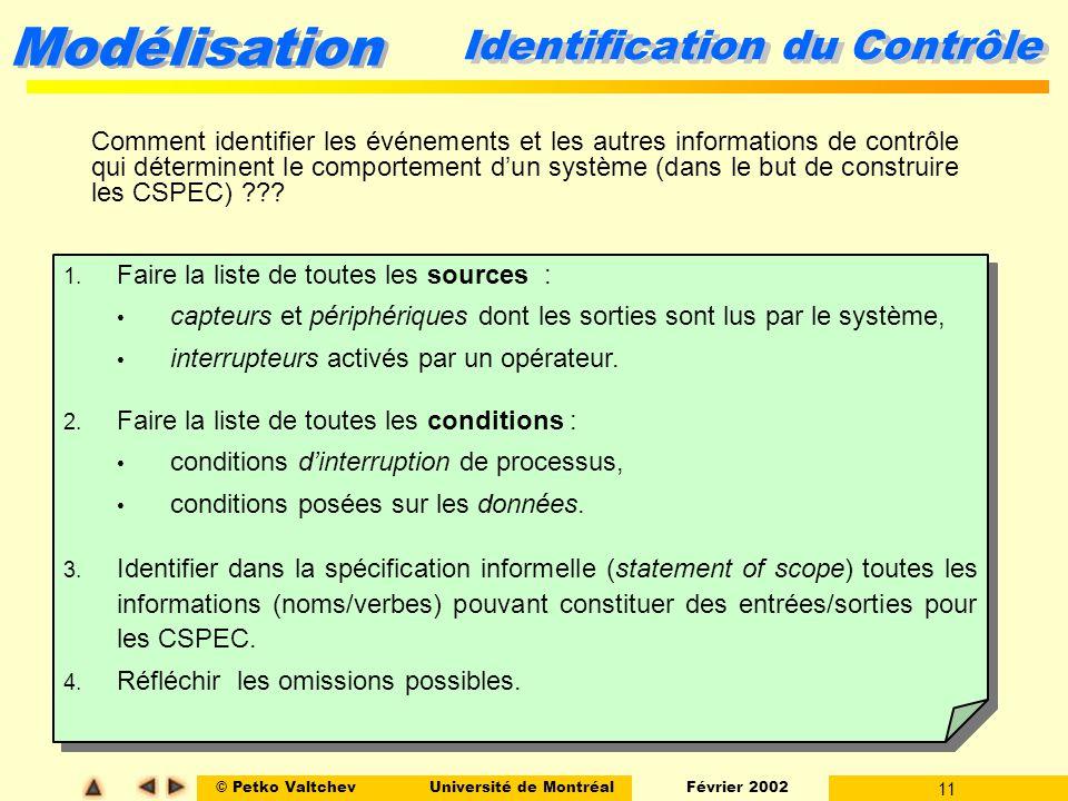 Identification du Contrôle