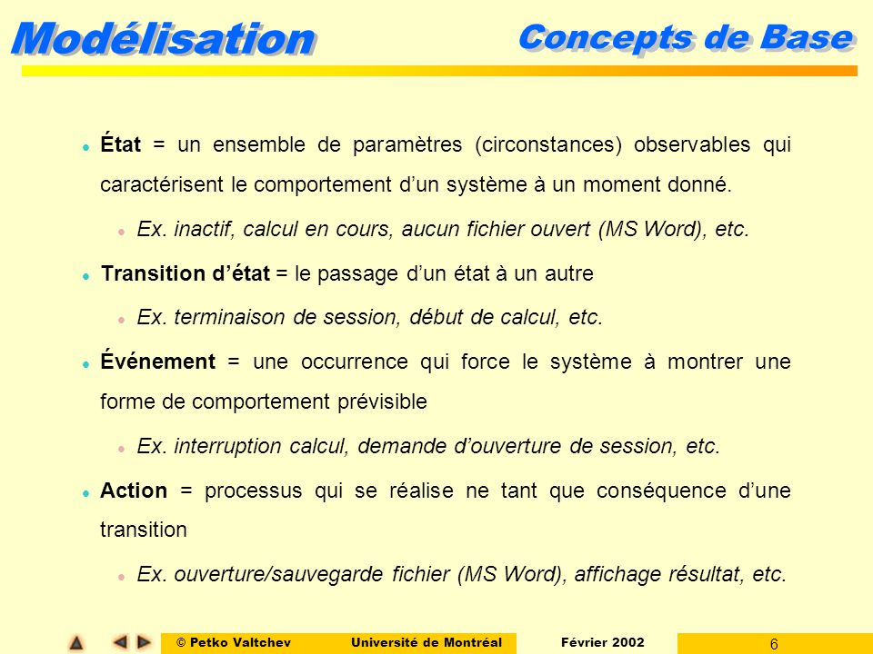Concepts de Base État = un ensemble de paramètres (circonstances) observables qui caractérisent le comportement d'un système à un moment donné.