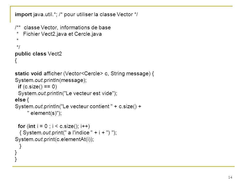 import java.util.*; /* pour utiliser la classe Vector */