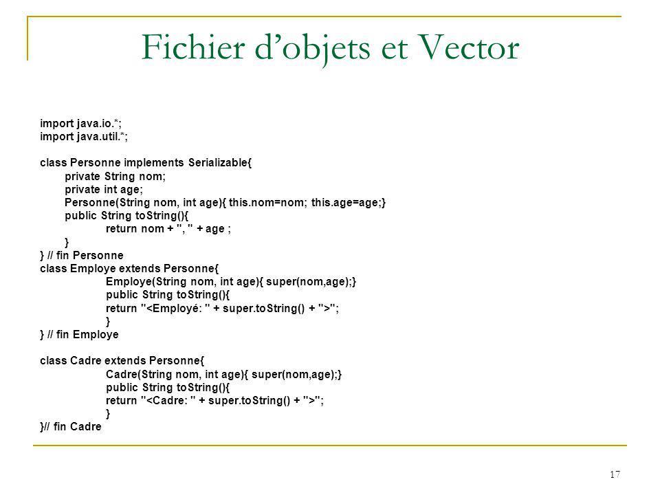 Fichier d'objets et Vector