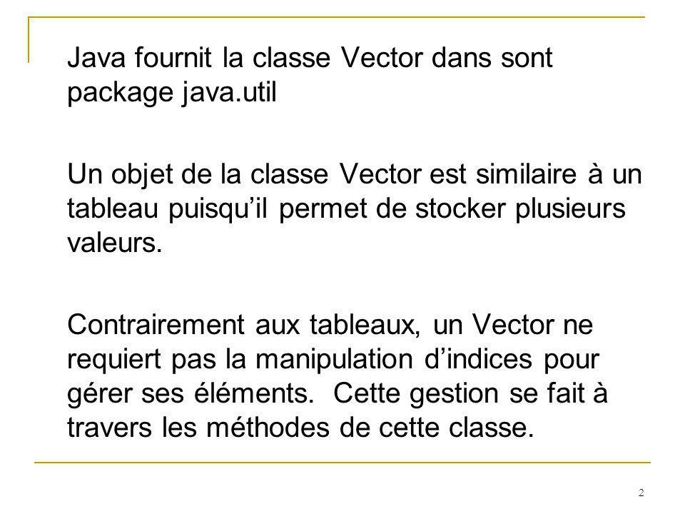 Java fournit la classe Vector dans sont package java.util