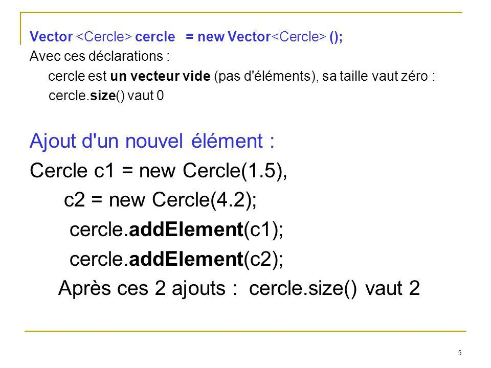 Ajout d un nouvel élément : Cercle c1 = new Cercle(1.5),