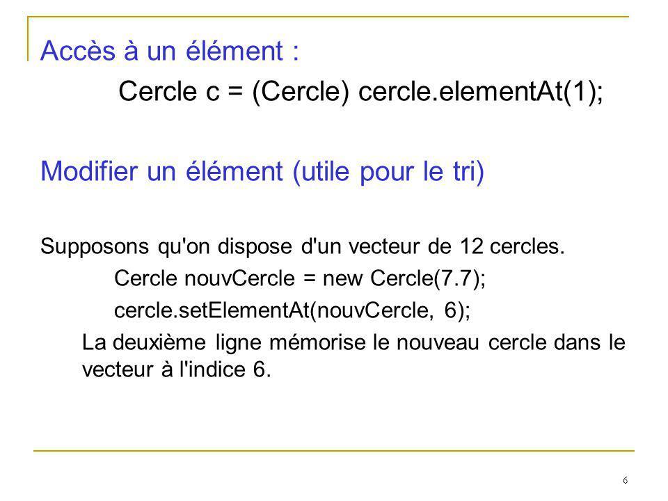 Cercle c = (Cercle) cercle.elementAt(1);