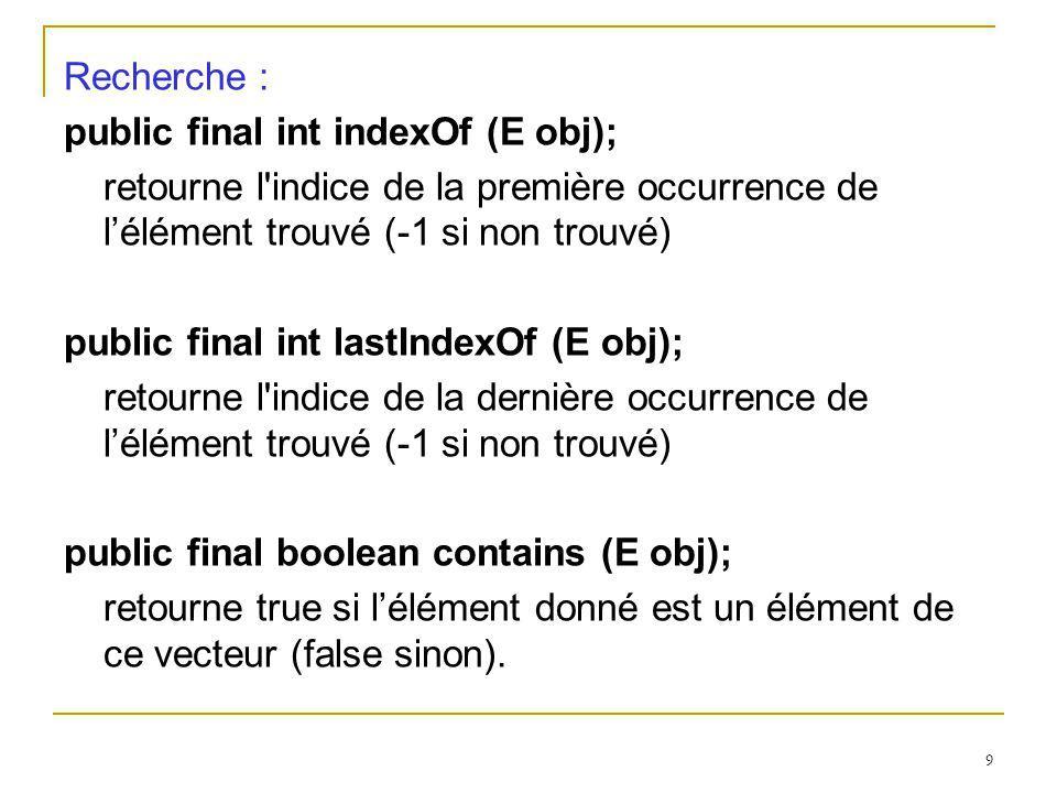 Recherche : public final int indexOf (E obj); retourne l indice de la première occurrence de l'élément trouvé (-1 si non trouvé)