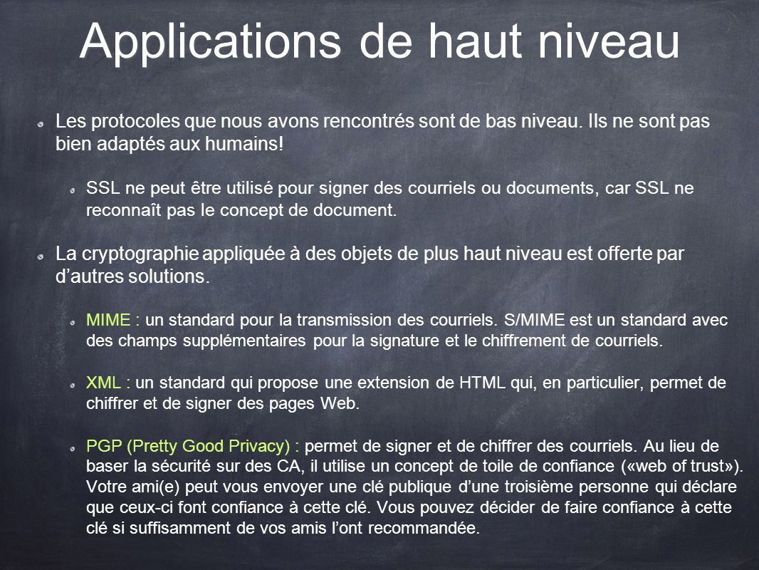Applications de haut niveau