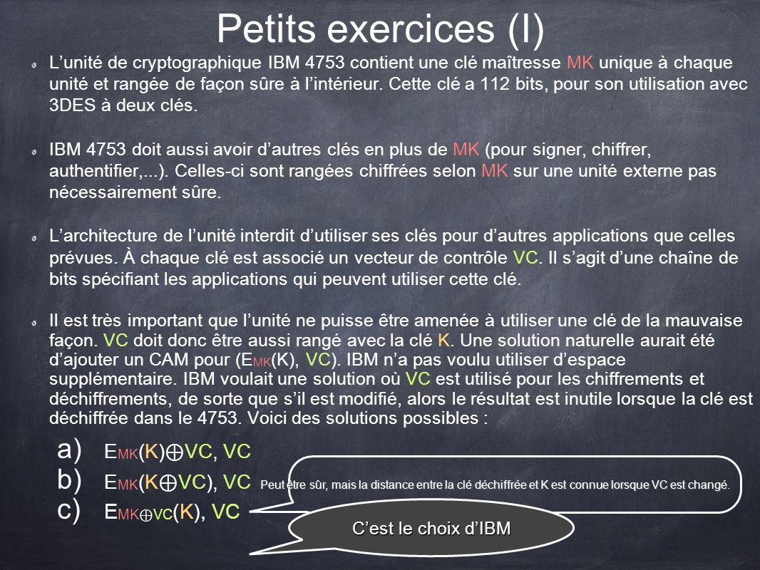 Petits exercices (I) EMK⊕VC(K), VC EMK(K)⊕VC, VC EMK(K⊕VC), VC
