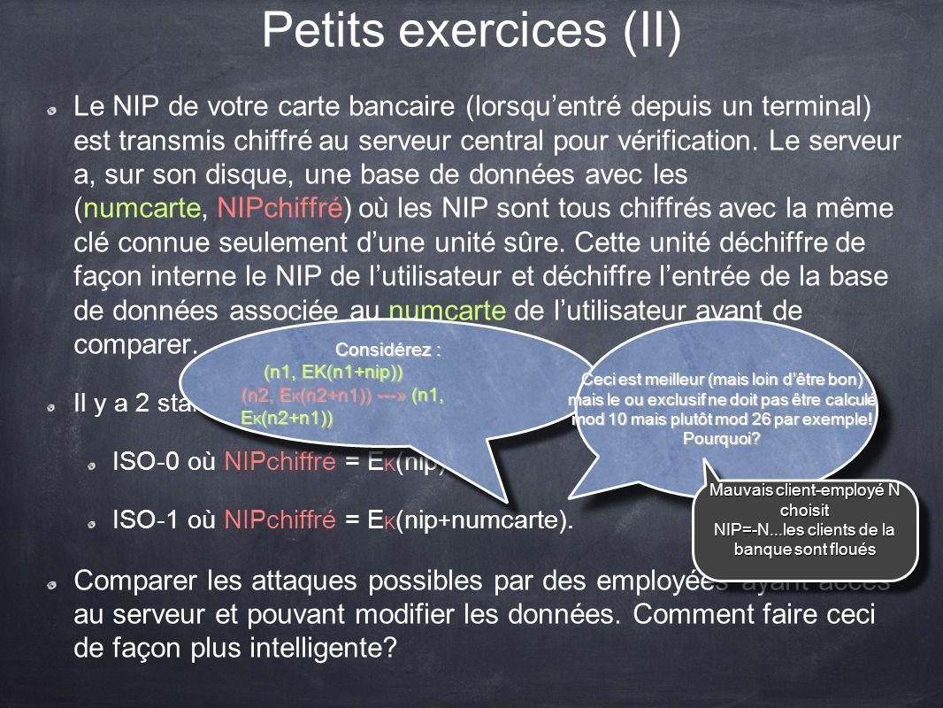 Petits exercices (II)