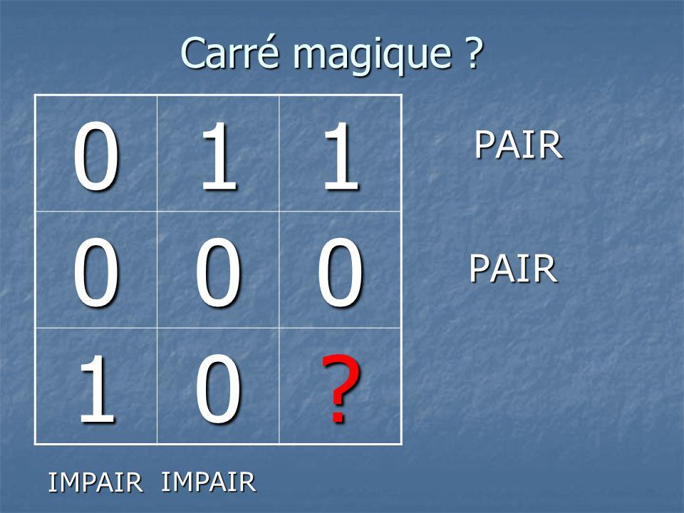 Carré magique 1 PAIR PAIR IMPAIR IMPAIR