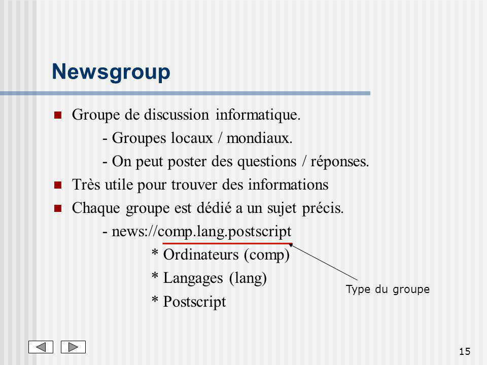 Newsgroup Groupe de discussion informatique.