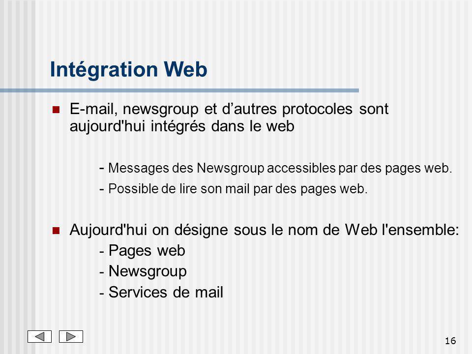 Intégration Web E-mail, newsgroup et d'autres protocoles sont aujourd hui intégrés dans le web.