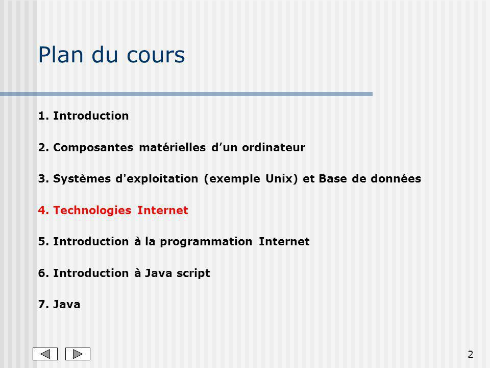 Plan du cours 1. Introduction