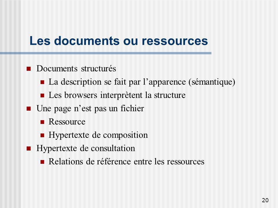 Les documents ou ressources