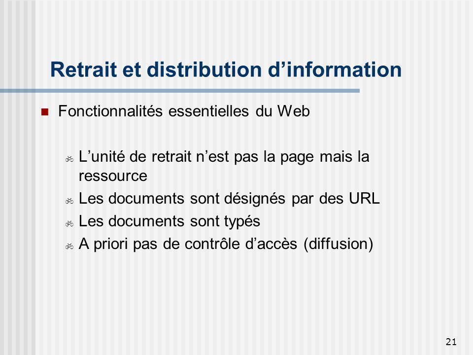 Retrait et distribution d'information