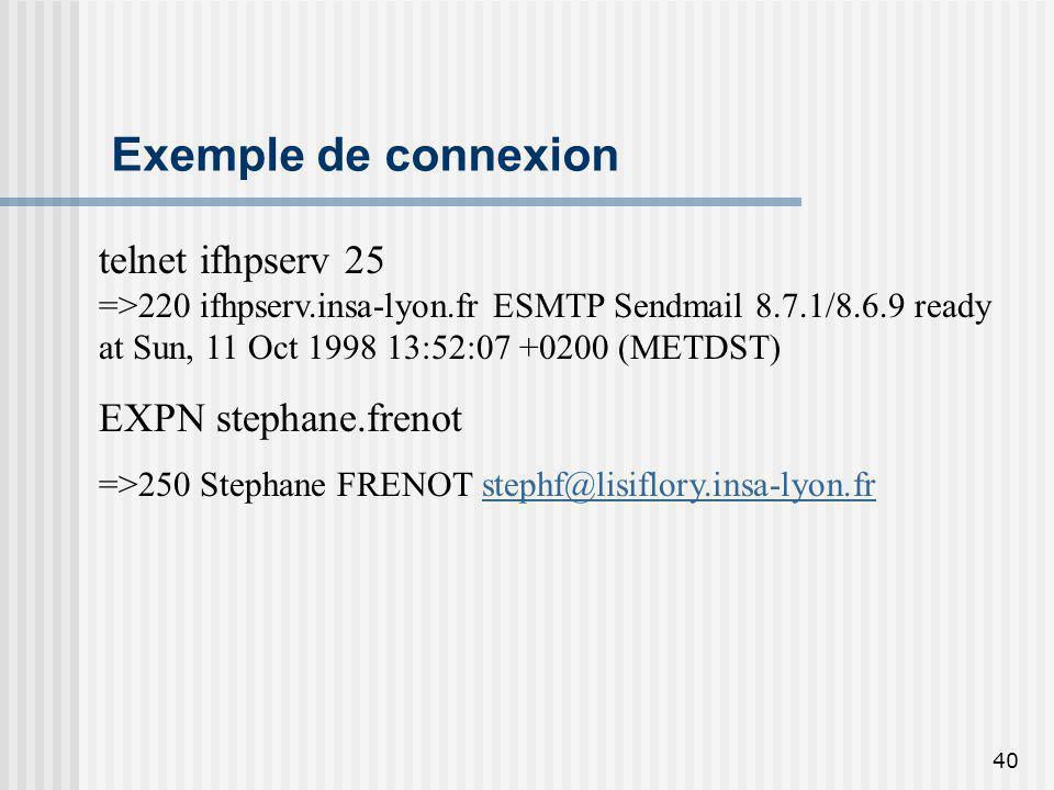 Exemple de connexion telnet ifhpserv 25 EXPN stephane.frenot
