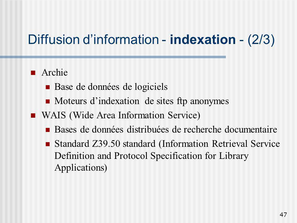 Diffusion d'information - indexation - (2/3)